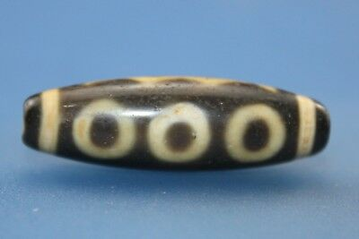 37*11mm Antique Dzi Agate old 5 eyes  Bead from Tibet **Free shipping**