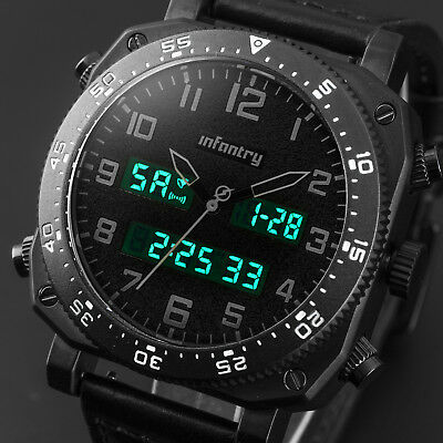 INFANTRY Mens LED Digital Quartz Wrist Watch Military Sport Tactical Cool Black