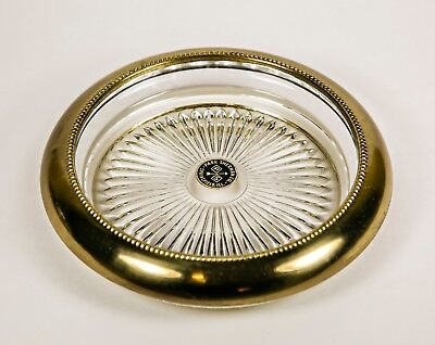 Vintage Park Sherman Glass Ashtray with Brass trim 5.5 inches Retro