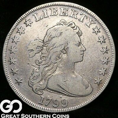 1799 Draped Bust Dollar, Highly Collectible VF++ Early Date Silver Dollar!
