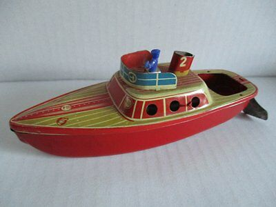 Tin Toy Blechspielzeug Polizei Boot Made in Western Germany 14 cm