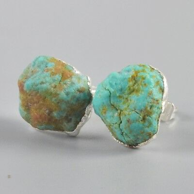 silver genuine stud earrings rough turquoise plated freeform natural