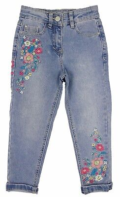 Girls Skinny Jeans Flower Embroidered Legs 4-5 Years To 13-14 years