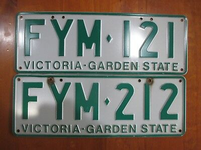 VICTORIA  2 x GARDEN STATE NUMBER PLATES   Numbers   FYM 121 & FYM 212
