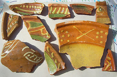 Lot decorative and colorful slibware pottery fragments 1600's