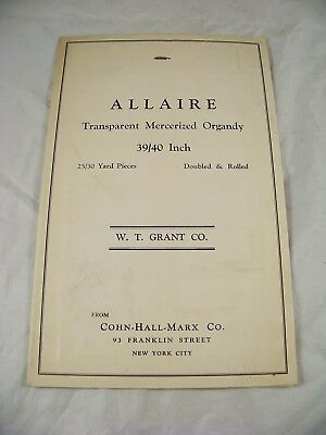 1930s  TRANSPARENT MERCERIZED ORGANDY  FABRIC SAMPLE CATALOG C-H-M CO W T GRANTS