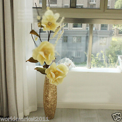 New Fashion Golden Glass Floor Vase With Simulation Flowers Household Decoration