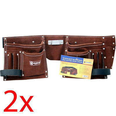 2 X 10 Pocket Double Split Suede Leather Tool Pouch Builders Bag Belt Storage