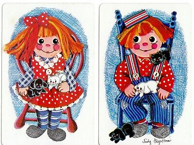 VINTAGE Playing cards swap cards raggedy Anne andy doll boy girl cats dogs