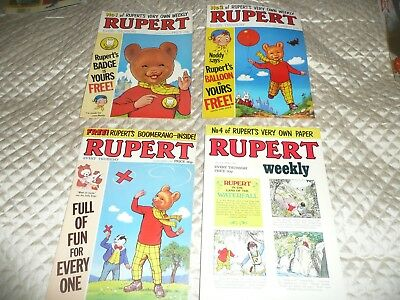 first 4 issues of the weekly comic RUPERT from oct  19823 to nov 1982
