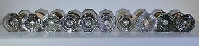 Antique Vintage Glass Door Knobs huge lot 10 pair eight sided
