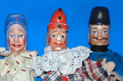 3 Antique c1900 PUNCH & JUDY character Carved Wood Toy Puppets Dolls