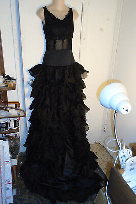 Fab Flamenco Dress - Fitted Bodice - Long Train - Long Center Front Slit - S