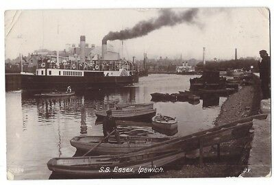 SS ESSEX Paddle Steamer at Ipswich, RP Postcard by Valentine Postally Used 1910