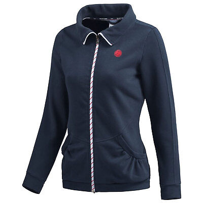Adidas Womens Roland Garros Climalite Navy Blue Cotton Tennis Jacket Sports Top