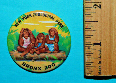 Used 1-3/4 inch pin BRONX ZOO New York Park **3 Monkeys Hear Speak See No Evil**