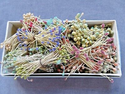 Lot Vintage FLOWER STAMENS for Ribbonwork,  16 Plus Bunches