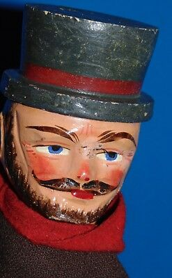 R.Antique c1900 PUNCH & JUDY character Carved Wood Toy Puppet Doll