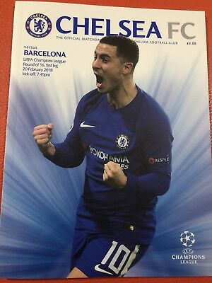 20/2/2018..CHELSEA v BARCELONA OFFICIAL PROGRAMME UNOPENED MINT