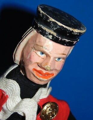 R.Antique c1900 PUNCH & JUDY character Carved Wood Toy Puppet Doll the judge