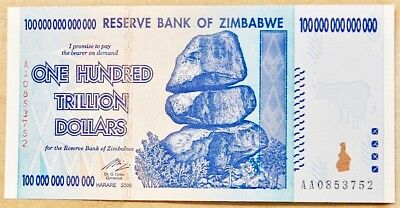 One Hundred Trillion Dollars 100,000,000,000,000.  Zimbabwe Dollar Bill