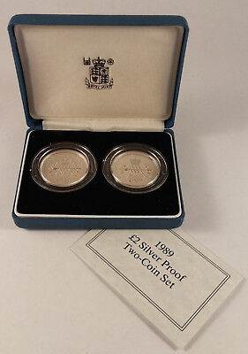 Great Britain 1989 2 Pound Silver Proof Bill & Claim Of Rights Two Coins Set
