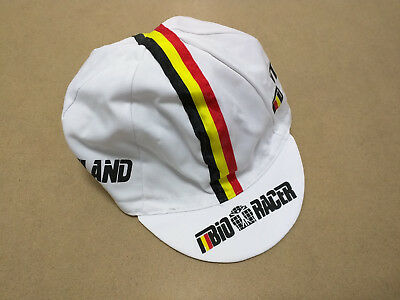 BIO RACER NATIONAL TEAM WHITE CYCLING BIKE HAT CAP - Fixed Gear - Made in Italy