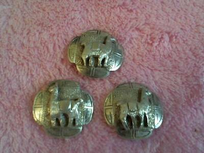 """Estate Lot Of 3 Antique Sterling Silver Llama  Buttons  Pre 1930 Nice !  3/4"""""""