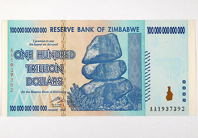 2008 Zimbabwe 100 Trillion Dollar Bank Note - Hyperinflation Currency