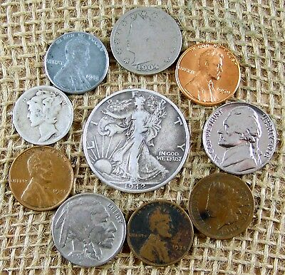 Mix  LOT of  10  OLD  U.S. Type  Coin  Collection with  some  90%  Silver  *3150