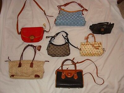 Lot Of 7 Dooney & Bourke Awl Leather/canvas Logo Purses Handbags Shoulder Bags