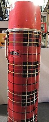 Metal VINTAGE KIng-Seeley RED PLAID QUART THERMOS, MADE IN USA,GLASS INSIDE.