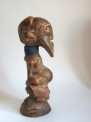 Fine old carved wood African figure with bead necklace