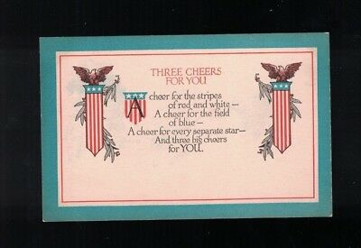 C 1918 Three Cheers For You World War I Poem Post Card by Christy Col