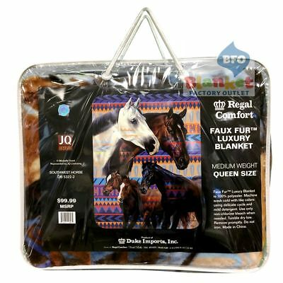 "Southwest South West Horse Collage Faux Fur Queen Size Blanket 79"" x 96"" NEW"
