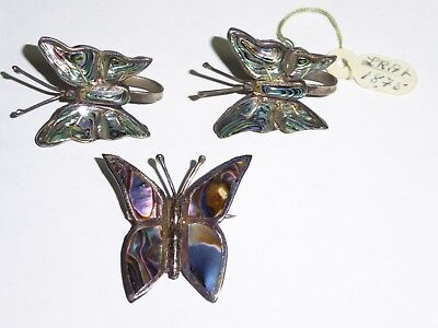 1930s STERLING SILVER BUTTERFLY EARRINGS WITH SCREW BACK POSTS & STERLING PIN