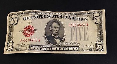 $5 1928 C Circulated Five Dollar United States Currency