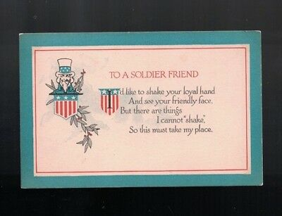 C 1918 To A Soldier Friend World War I Poem Post Card by Christy Col