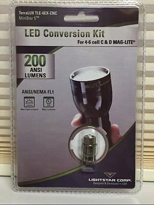 Terralux Tle6Ex Maglite Led Upgrade Bulb 200 Lumens 4 5 & 6 D Cell Maglight New