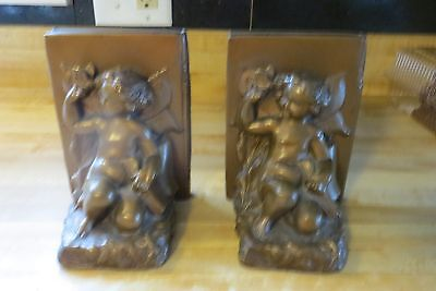 Solid Brass Or Bronze Set Vtg Cherub Heavy Quality ,usa Made Display Bookends