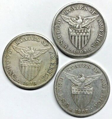 Lot Of (3) Silver U.s. Philippines One Peso - 1907 1908 1909