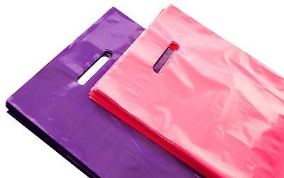 """200 Retail Shopping Bags Merchandise Plastic Bags With Handles 9X12"""", Glossy NEW"""
