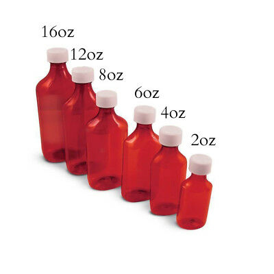 Amber Graduated Oval Liquid Medicine Bottles Plastic w/ Screw Cap 2oz 200/CS