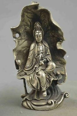 Collectable Handwork Miao Silver Carve Bodhisattva Inside Lotus Leaf Pray Statue