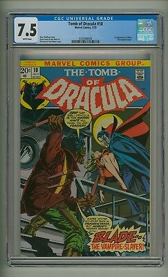 Tomb of Dracula 10 (CGC 7.5) White pages; 1st Blade the Vampire Slayer (c#17628)