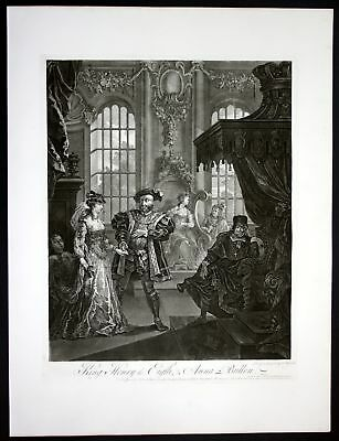 King Henry VIII Anna Boleyn König Königin Radierung etching William Hogarth