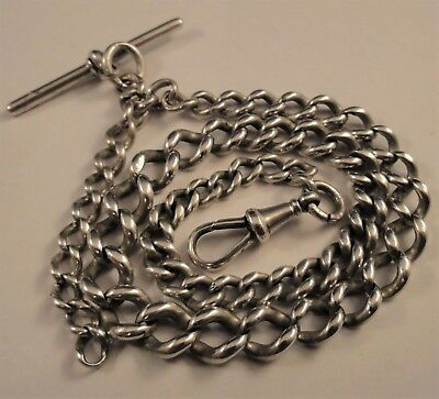 Antique Silver Graduated Albert Pocket Watch Chain Birmingham 1898