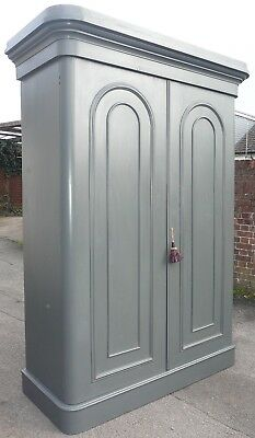 Large Painted Victorian Fitted Wardrobe With Key