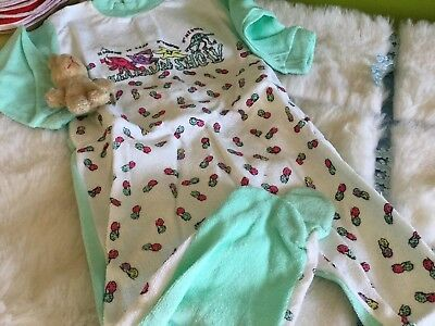 AUTHENTIC VINTAGE 1970s UNUSED BABY GRO ALL PYJAMAS IN ONE 3/6 MONTHS