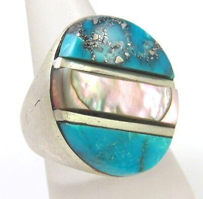 Vtg Navajo Hallmarked Sterling Silver Turquoise Mother Pearl Inlay Ring 10.5 J E